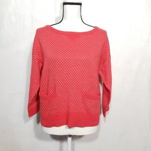 Topshop red white sweater - pockets (8-153)